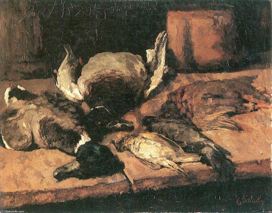 fiero Patos asícomo pequeña pájaros, óleo sobre lienzo de Carl ...