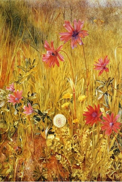 Flores Silvestres, acuarela de Henry Roderick Newman (1833-1918, United States)