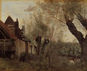 Jean Baptiste Camille Corot - Willows y Casas en Saint-Catherine-les Arras