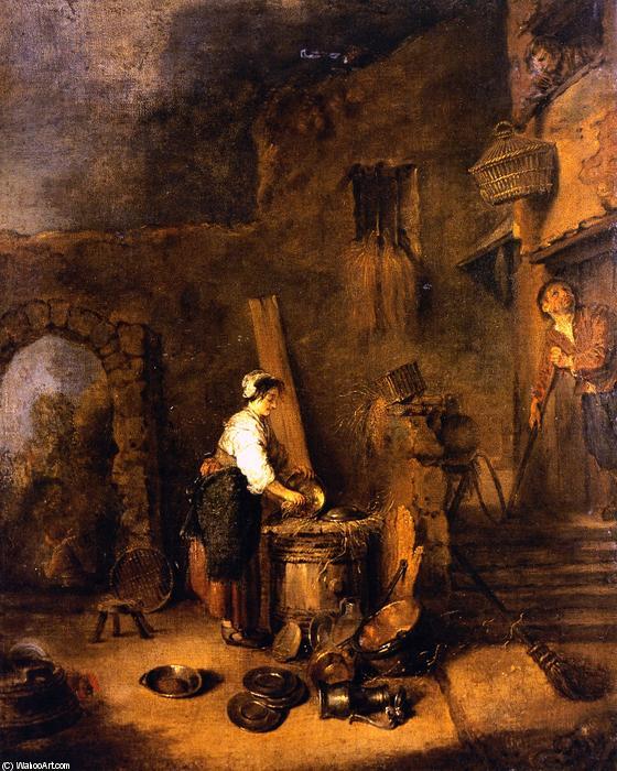 Limpieza de la mujer de cobre leo sobre lienzo de jean - Limpieza de cobre ...