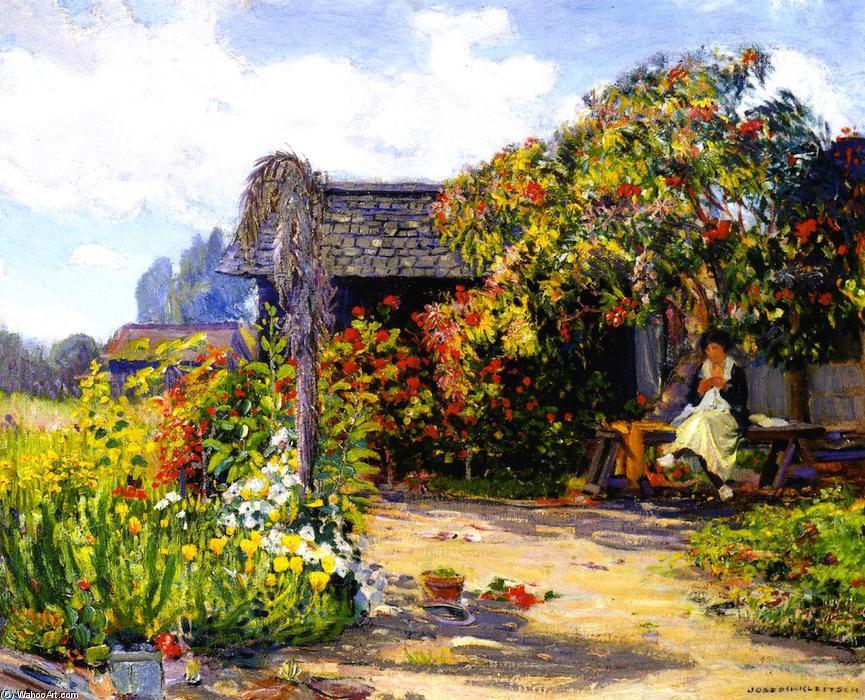 Mujer sentado para el jard n coser leo sobre lienzo de - Oleos de jardines ...