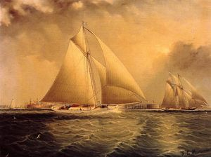 James Edward Buttersworth - Yachting en Nueva York Harbor