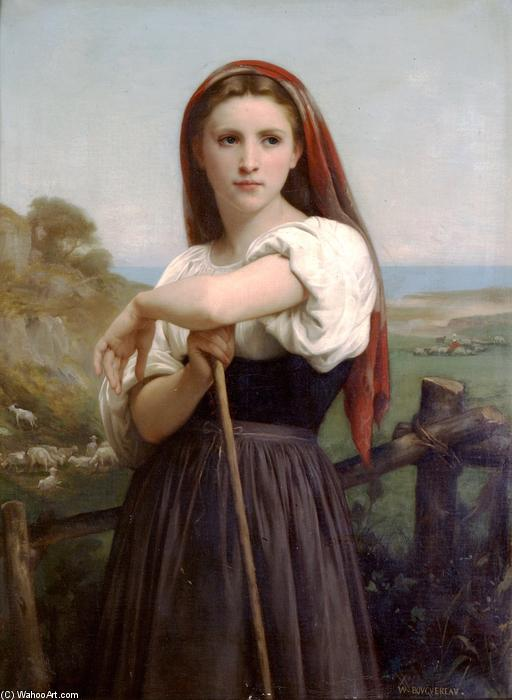 Pastora joven, óleo sobre lienzo de William Adolphe Bouguereau (1825-1905, France)