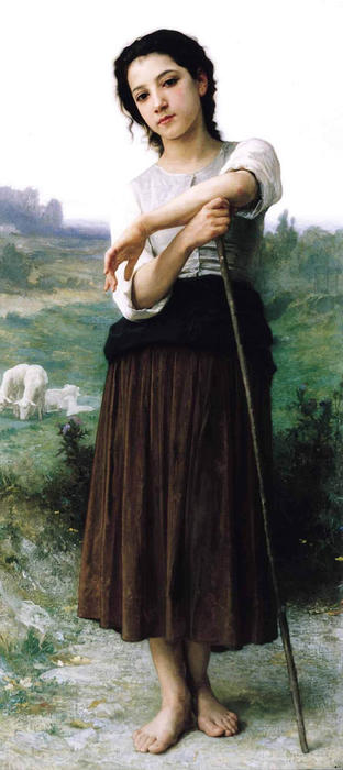Joven pastora Permanente de William Adolphe Bouguereau (1825-1905, France)