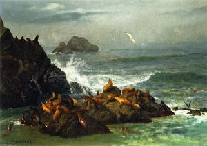 Albert Bierstadt - sello rocas , Pacífico Mar , California