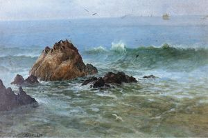Albert Bierstadt - sello rocas en Pacífico La costa , California