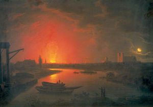 Abraham Pether - Antiguo Drury Lane Theatre On Fire