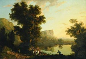 George Barret The Elder - paisaje con un lago