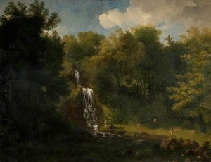 Jacob More - paisaje con waterfall