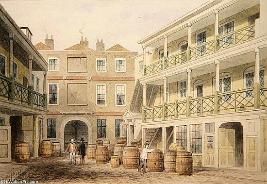 The Bell Inn, calle Aldersgate de Thomas Hosmer Shepherd (1792-1864, United Kingdom)