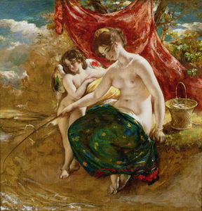 William Etty - Love's Pesca con caña ,
