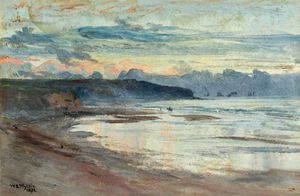 William Lionel Wyllie - Un costera  escena  a  Atardecer en