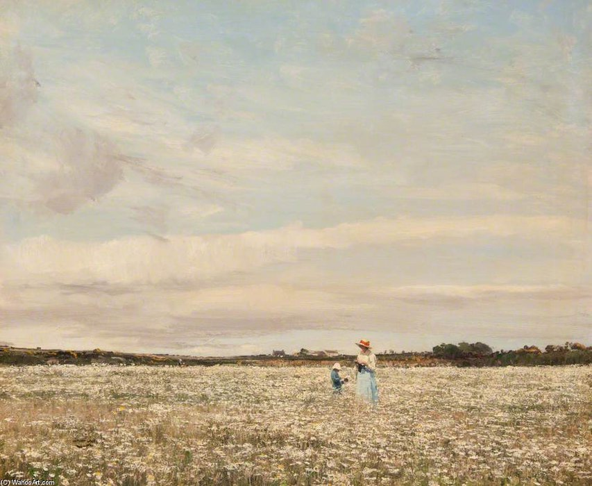 Margeurites en el prado de William Page Atkinson Wells (1871-1923, United Kingdom)