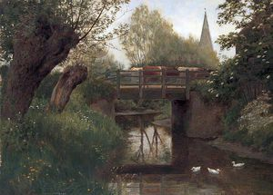 William Sidney Cooper - `cattle` en un puente