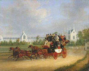 James Pollard - El -tally-ho- De londres - De birmingham coche de la etapa Que pasa Whittington Universidad , Highgate