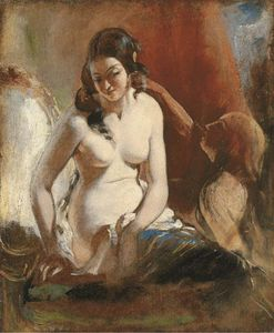 William Etty - estudio de una niña a ella `toilet`