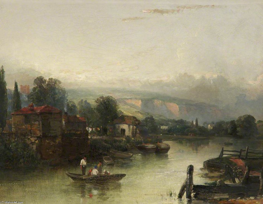 escena del río de Charles Bentley (1805-1854, United Kingdom)