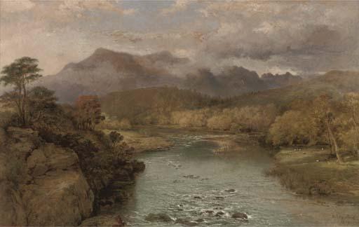 Un río sinuoso Con Hills Beyond de George Edwards Hering (1805-1879, United Kingdom)