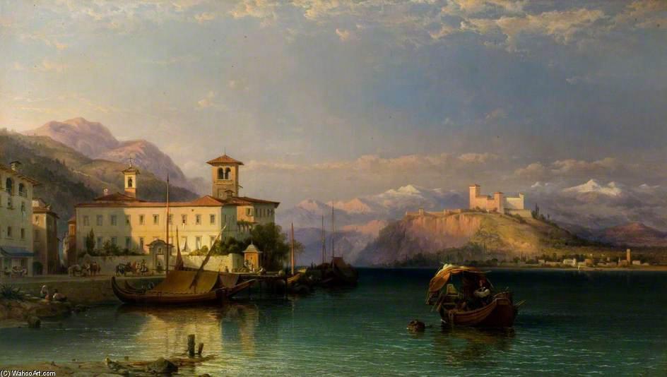 Arona y el castillo de Angera, Lago Mayor de George Edwards Hering (1805-1879, United Kingdom)