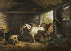 George Morland - interior de una estable  -