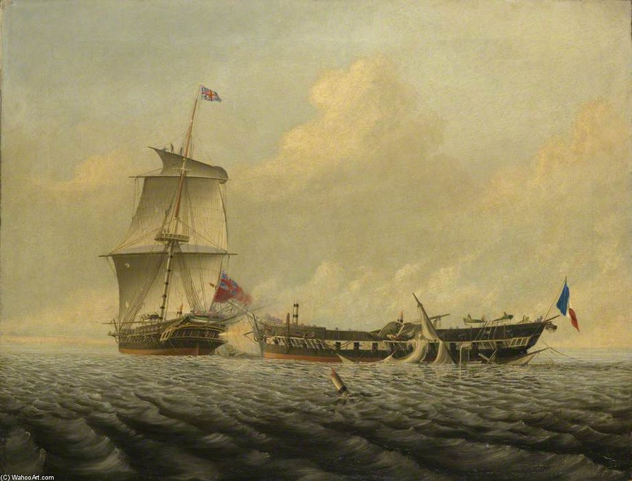 Acción Entre Hms blanca y el pique de Thomas Baines (1820-1875, United Kingdom)