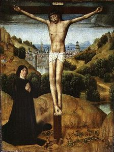 Master Of The Legend Of Saint Ursula - cristo en el cruz con un `donor`
