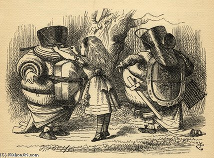 el batalla sobre el `rattle` de John Tenniel (1820-1914, United Kingdom)