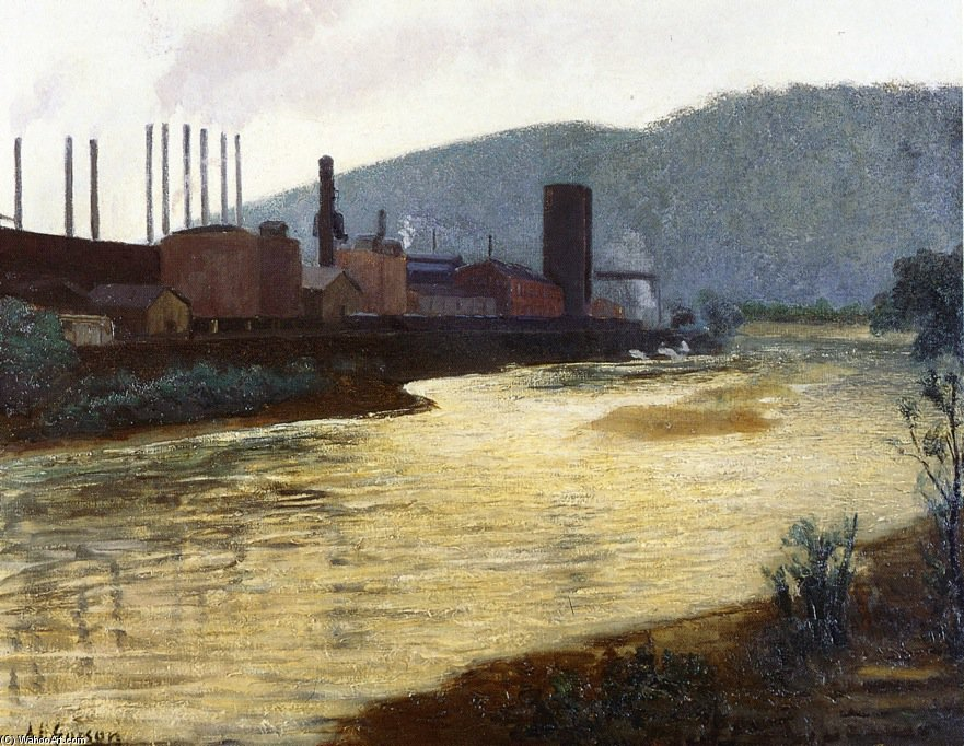 Monongahela Río , Pittsburgh , Jones Asícomo planta siderúrgica de laughlin de Aaron Harry Gorson (1872-1933, Lithuania)