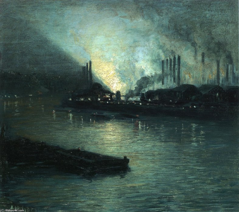 Pittsburgh Industrial Nocturne de Aaron Harry Gorson (1872-1933, Lithuania)