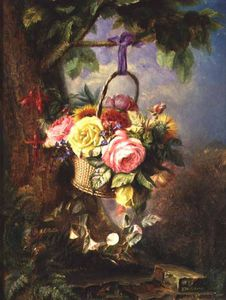 Edward Charles Williams - Cesto Of Roses Enestado Fuschia