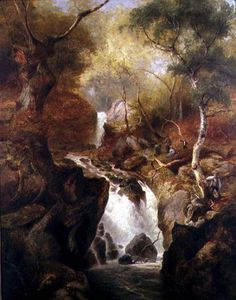 Edward Henry Holder - catarata a través  Un  bosque
