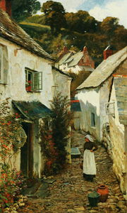 Edward Wilkins Waite - una calle en clovelly
