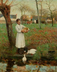 Edward William Stott - Alimentar a los patos