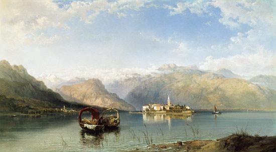 Isola Pescatori Desde Isola Bella En El Lago Maggiore de George Edwards Hering (1805-1879, United Kingdom)
