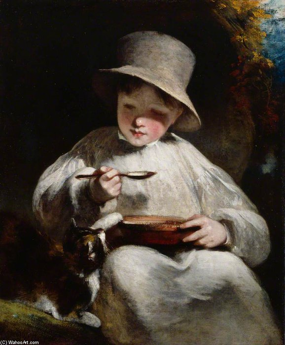 niño y gatito  de William Owen (1769-1825, United Kingdom)