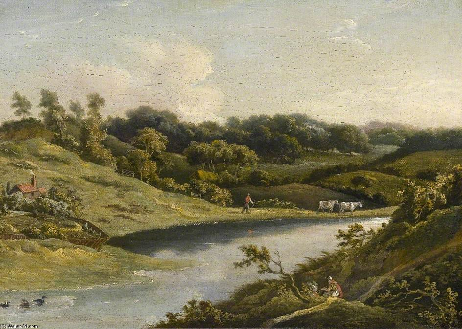 Río en devon de William Payne (1760-1830, United Kingdom)