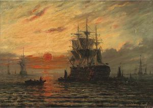 Adolphus Knell - el flagship a  anochecer