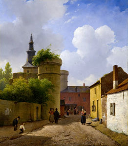 Andreas Schelfhout - Pequeña calle HUY , Bélgica