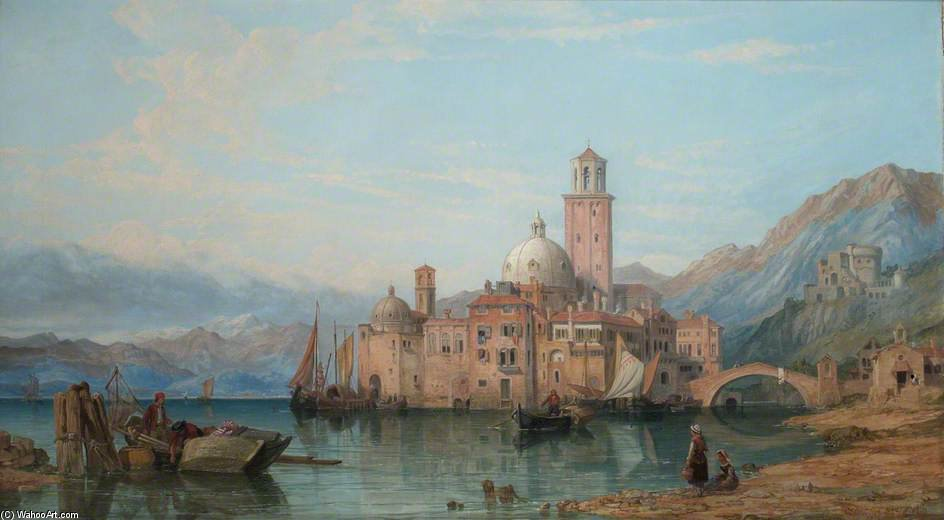 un italiano Lago  escena  de George Clarkson Stanfield (1793-1867, United Kingdom)