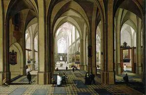 Pieter The Elder Neeffs - gótico iglesia  el interior