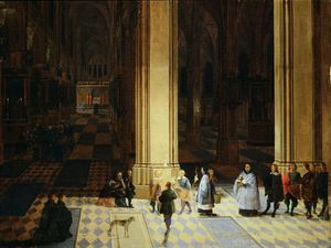 Peeter Neeffs The Elder - interior ANTWERP Catedral por noche
