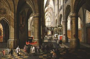 Peeter Neeffs The Elder - interior de un catedral con un `procession`