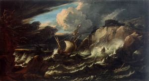 Pieter The Younger Holsteyn - tormenta de los casos mar