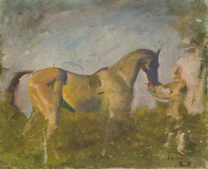 Alfred James Munnings - a caballo con un `groom`