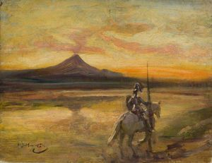 Alfred James Munnings - Knight montar a un lago