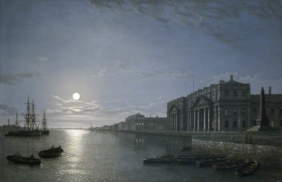 El Támesis asícomo  hospital de greenwich  carreterasecundaria  luz de la luna  de Henry Pether (1828-1865, United Kingdom)