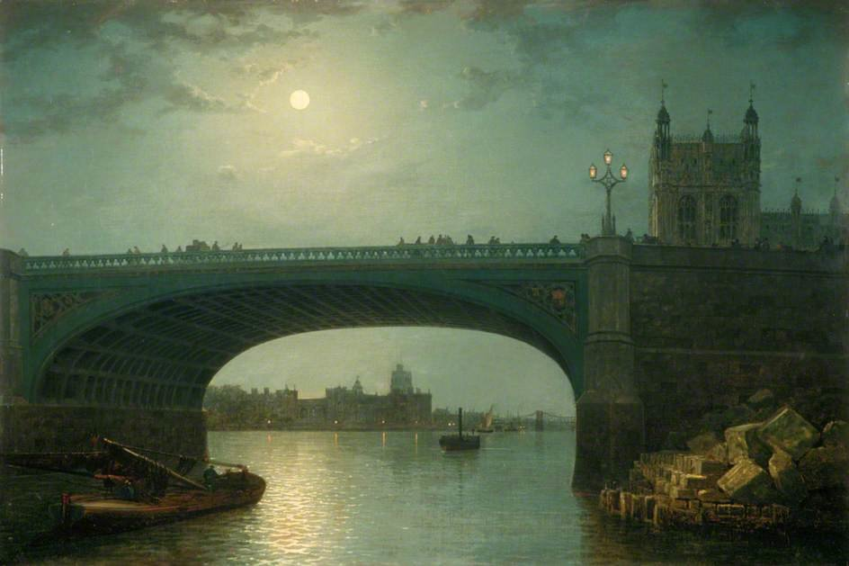Westminster puente por Claro de luna de Henry Pether (1828-1865, United Kingdom)