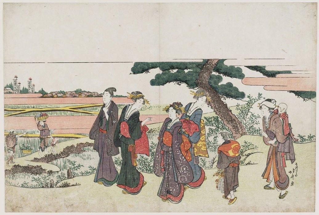 On The Way To The Meguro Fudô Salón de Katsushika Hokusai (1760-1849, Japan) | Reproducciones De Calidad Del Museo | WahooArt.com