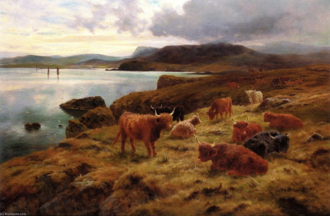 En los acantilados de Shetland de Louis Bosworth Hurt (1856-1929, United Kingdom)