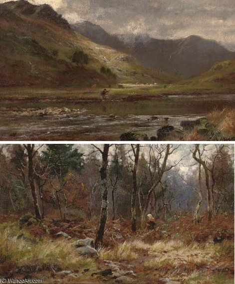 Un pescador En Glen Shiel, Ross-shire de Louis Bosworth Hurt (1856-1929, United Kingdom)